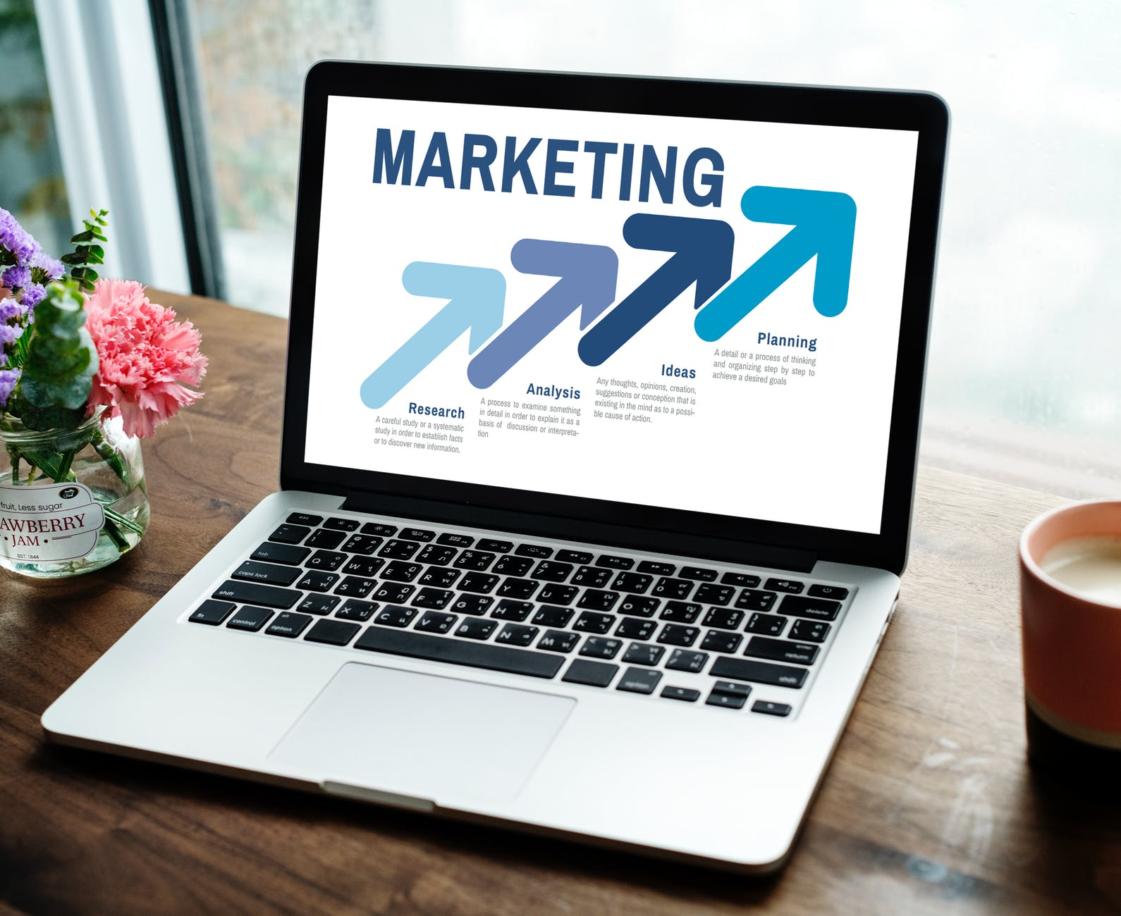 laptop with marketing display